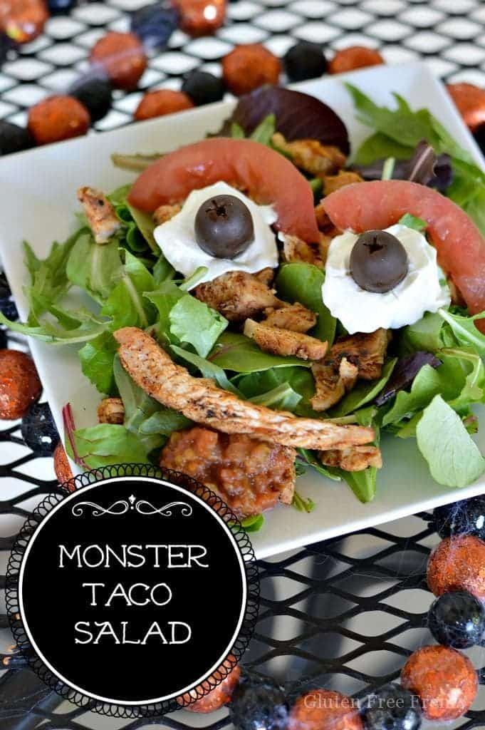 This easy monster taco salad is perfect for a Halloween dinner or party. It can be put together in less than 5 minutes too! | halloween meal ideas | fun recipes for halloween | halloween recipe ideas | gluten free halloween recipes | gluten free halloween || This Vivacious Life #halloween #halloweenrecipes #monster #glutenfree #kidfriendly #thisvivaciouslife