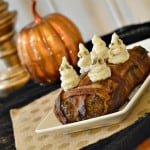 This bacon wrapped meatloaf is gluten-free and topped with ghost mashed potatoes. It is sure to be a Halloween dinner hit for the whole family. glutenfreefrenzy.com