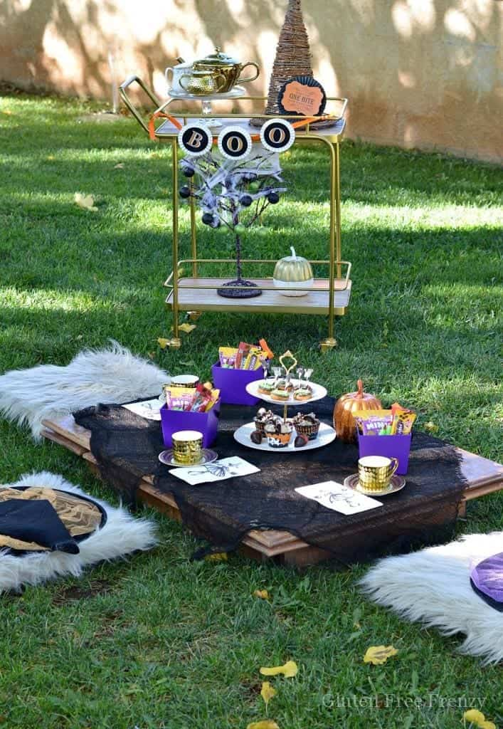 This little witches tea party couldn't be cuter! It is fun, festive and full of Halloween flair and fun! From party favors to themed treats, this party has it all! glutenfreefrenzy.com
