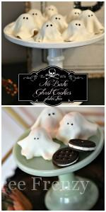 These no-bake ghost cookies are SO delicious that you won't be able to eat just one! They are so easy to make and couldn't be cuter. They are gluten-free but nobody would every know. They are perfect for your Halloween party. glutenfreefrenzy.com