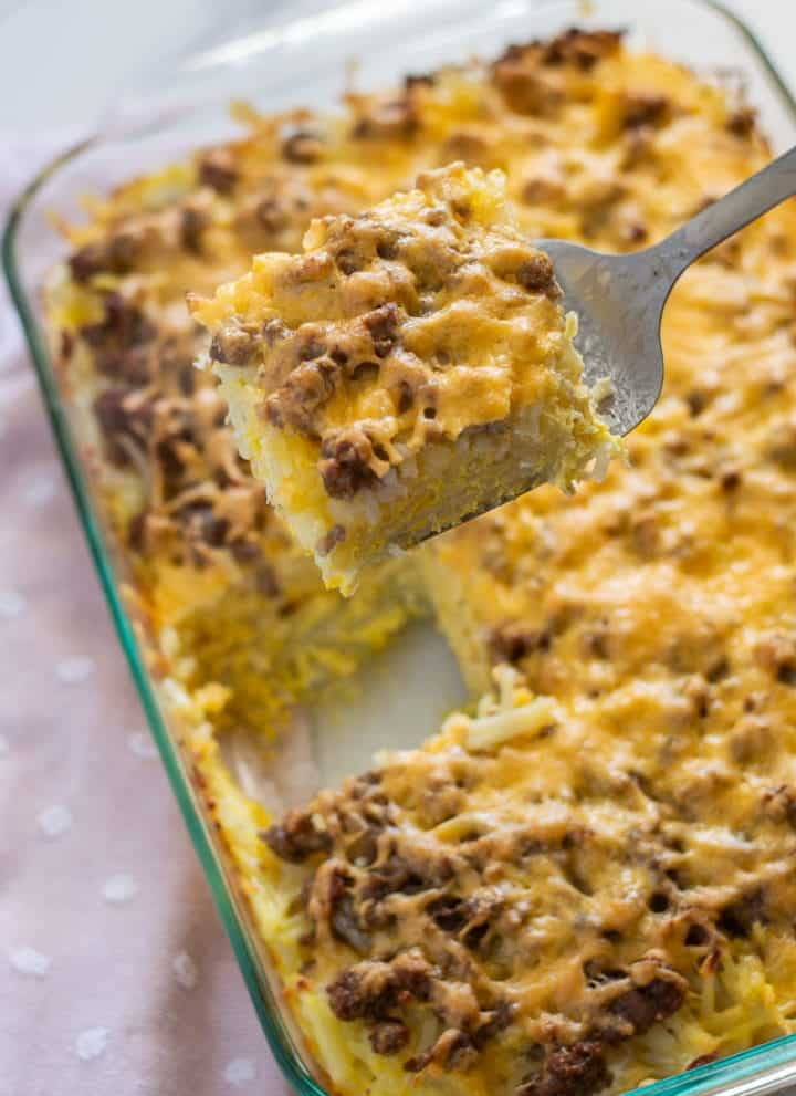 Hashbrown breakfast casserole in a glass pan