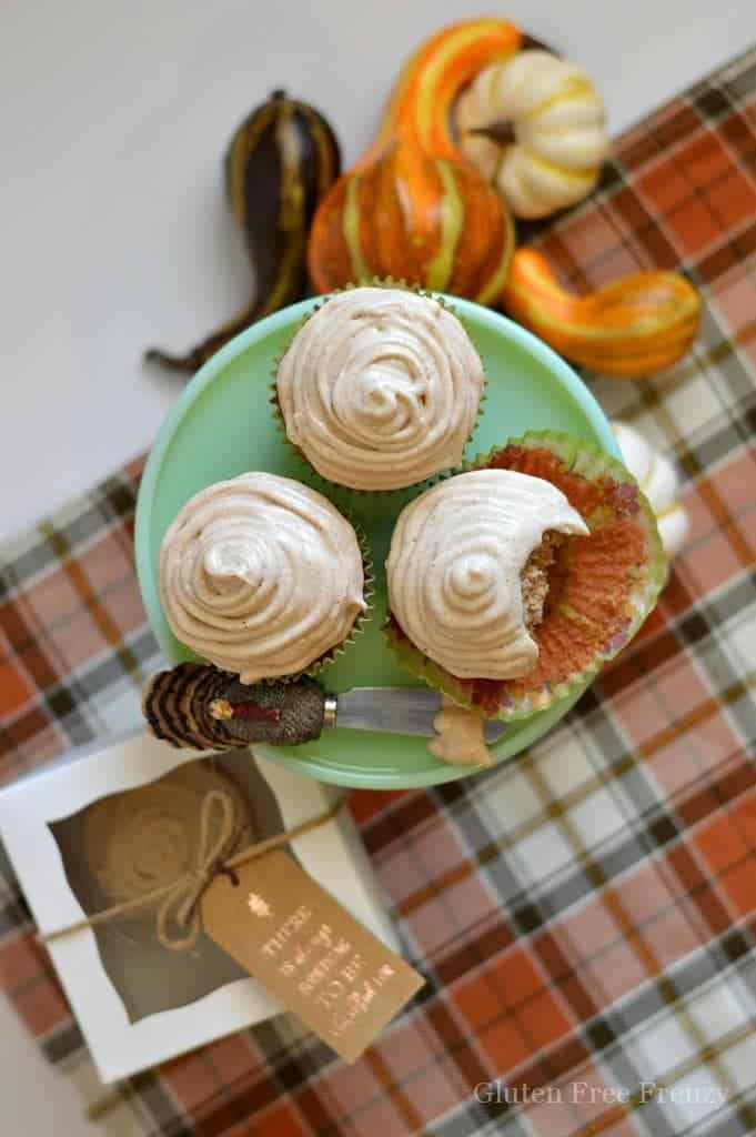These gluten-free apple cider cupcakes are moist and full of fall flavors. Warm cinnamon and apple come together in a great dessert that's perfect for Thanksgiving. | Gluten Free Cupcakes | Gluten Free Desserts | Gluten Free Thanksgiving | gluten-free fall recipes | gluten-free apple cider recipes | gluten-free fall treats || This Vivacious Life #glutenfree #cupcakes #falldesserts #thisvivaciouslife