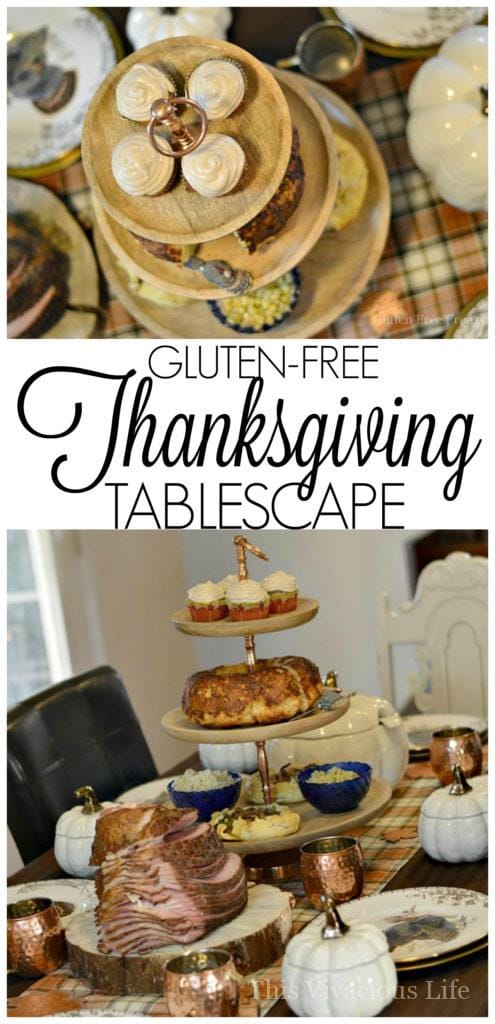 Our gluten-free Thanksgiving tablescape will wow all of your guests from both presentation to taste. Nobody would ever know it's all gluten-free! Let us show you how to play the perfect hostess this Thanksgiving. | thanksgiving table decor | thanksgiving tablescapes | gluten-free thanksgiving | thanksgiving gluten-free || This Vivacious Life #glutenfreethanksgiving #thanksgivingtablescape