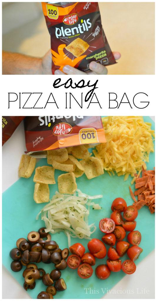This easy to make pizza in a bag recipe is so delicious and can even be made dairy-free thanks to Enjoy Life Foods plentils. | easy gluten free lunches | fun gluten free recipes | gluten free pizza in a bag | gluten free meal ideas | gluten free recipe ideas || This Vivacious Life