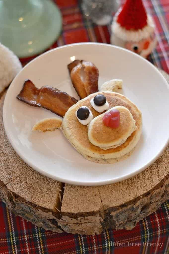 This gluten-free mini reindeer pancake party is both whimsical and tasty. Kids will love how tiny and tasty everything is at this holiday breakfast.