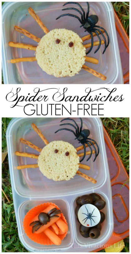 Gluten-Free Spider Sandwiches | gluten-free halloween ideas | gluten-free kids lunches | fun ideas for halloween | halloween fun for kids | halloween ideas gluten-free | spooky food ideas | halloween lunchbox ideas || This Vivacious Life