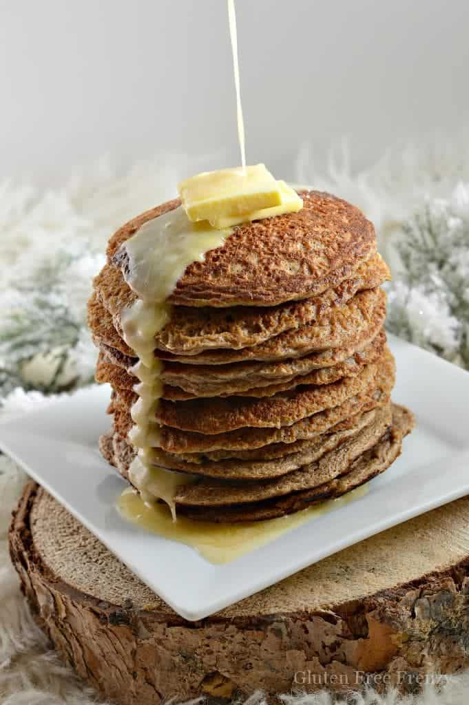 These eggnog oatmeal pancakes will bring your taste buds alive this holiday season. This easy and delicious breakfast is perfect for serving at Christmas breakfast.