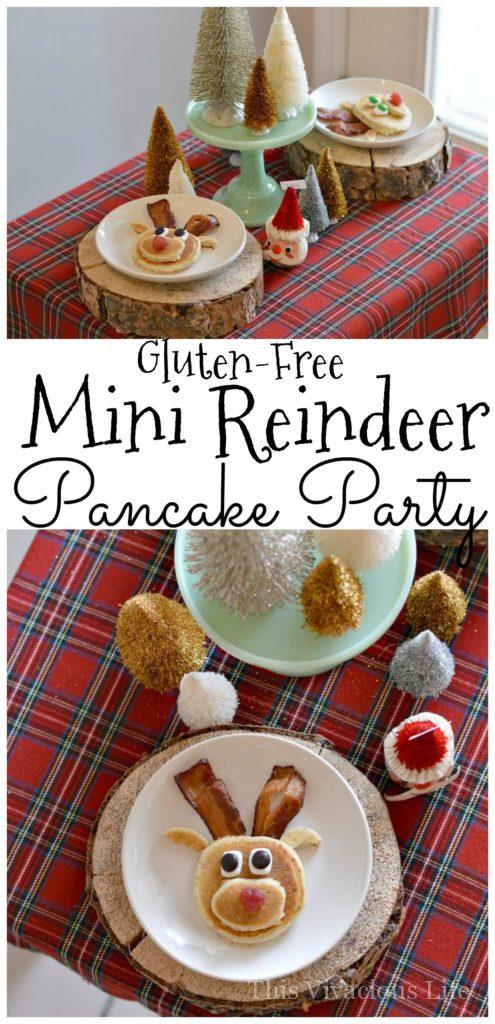 This gluten-free mini reindeer pancake party is both whimsical and tasty. Kids will love how tiny and tasty everything is at this holiday breakfast. | gluten-free Christmas recipes | kid-friendly Christmas parties | kid-friendly holiday parties | Christmas party theme ideas | reindeer themed recipes | Christmas themed breakfast recipes || This Vivacious Life #reindeer #kidfriendlyfood #christmasparty #ChristmasBreakfast