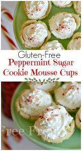 Gluten-free peppermint sugar cookie mousse cups are perfect for your next holiday gathering or cookie exchange.
