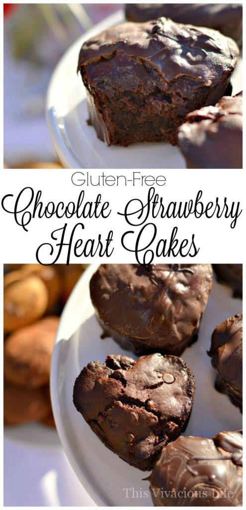 Gluten-Free Chocolate Strawberry Heart Cakes | gluten-free cake recipes | gluten-free chocolate recipes | gluten-free Valentine's Day treats | gluten-free chocolate desserts || This Vivacious Life #glutenfreedessert #glutenfreecake #valentinesday