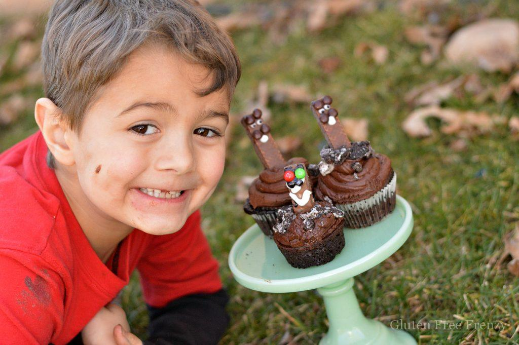 These groundhog day cupcakes are festive and fun. They are also gluten-free and super delicious! Enjoy them at your next spring party. They would also be great for an older than dirt party.