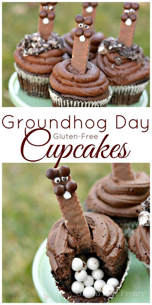 These gluten-free groundhog day cupcakes are festive and fun. | gluten-free groundhog day recipes | groundhog day treats | groundhog day fun | fun recipes for groundhog day | gluten-free cake recipes | gluten-free groundhog day || This Vivacious Life #groundhogday #glutenfreecupcakes #groundhogdayfun