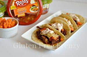 Crockpot Polynesian Pulled Pork Tacos with Pickled Ginger & Chipotle Mango Mayo