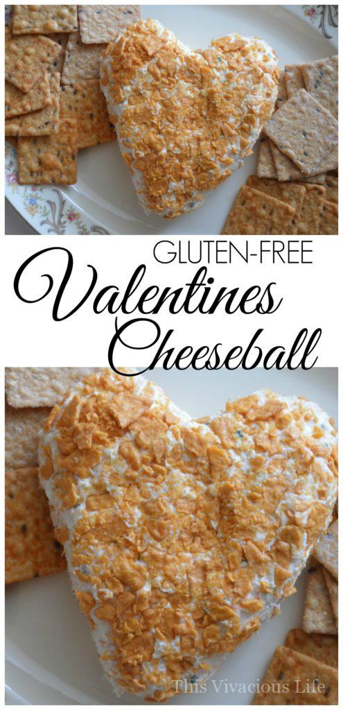 This Valentines cheeseball is so festive and fun that everyone will love it!   gluten-free Valentine's Day appetizers   gluten-free cheese ball recipe   heart shaped appetizers   Valentine's Day appetizers   Valentine's Day recipes    This Vivacious Life #valentinesday #valentinesdayappetizer #glutenfreeappetizer