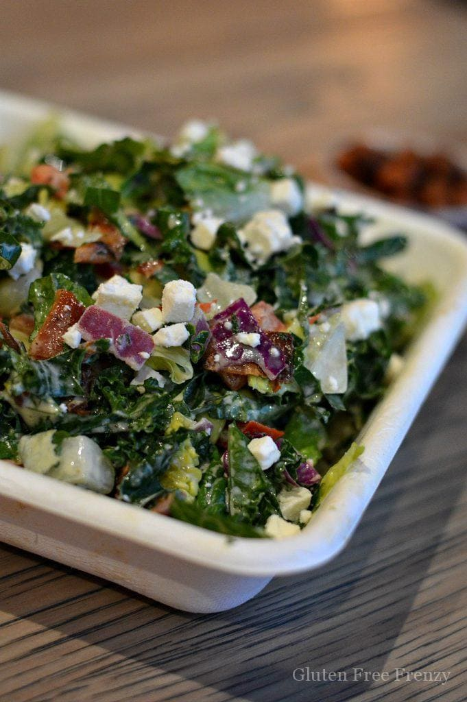 Kale salad with bacon, cheese and quasi Fresca