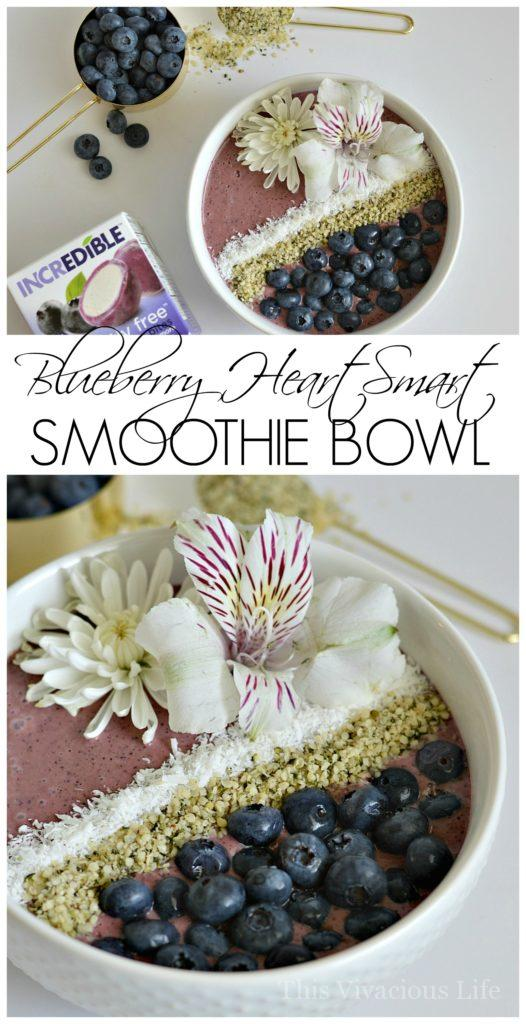 This blueberry heart smart smoothie bowl is as delicious as it is beautiful. | quick breakfast recipes | healthy breakfast recipes | quick smoothie bowl recipe | blueberry smoothie bowl recipe | healthy smoothie bowl recipe || This Vivacious Life #blueberrysmoothie #smoothiebowl #healthybreakfast