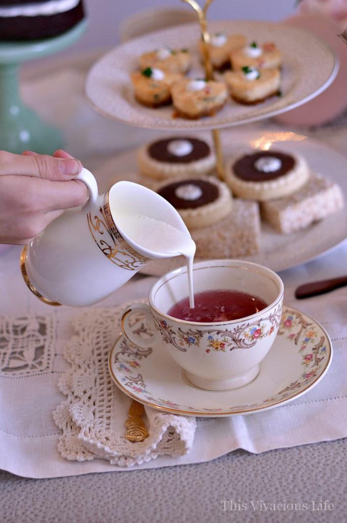 This vintage Valentines tea party was full of classy florals, antique china and delicious gluten-free goodies including savory crab cheesecakes. | Valentine's Day party ideas | vintage party ideas | vintage party decor | Valentine's Day party decor || This Vivacious Life #valentineparty #valentinesday #vintagepartydecor
