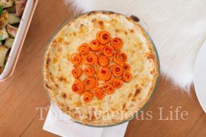 Chicken Cordon Bleu Pot Pie with Carrot Rosettes