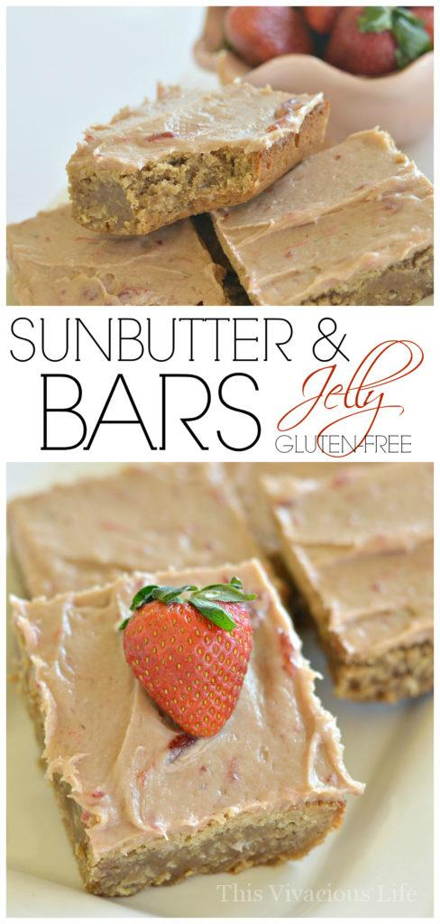 These Sunbutter and jelly bars are full of classic, nostalgic flavor. They are gluten-free and nut-free! | allergy friendly bars | sunbutter recipes | gluten-free bars | nut-free bars | gluten-free desserts | nut-free desserts || This Vivacious Life #sunbutter #nutfreedessert #glutenfreedessert