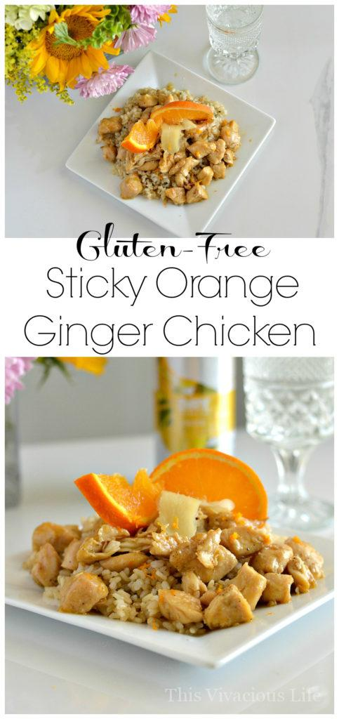 This gluten-free sticky orange ginger chicken with coconut rice is a delicious Chinese dinner that you can easily make at home. The best part is that it is much better for you than regular takeout. | gluten free chicken recipes | gluten free dinner recipes | gluten free meal ideas | easy gluten free recipes | homemade gluten free dishes || This Vivacious Life