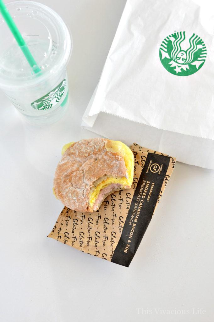The Starbucks gluten-free sandwich is so delicious! It is also very balanced with lots of clean protein, just the right amount of good carbs and a bit of fat and some fiber. I am a sauce girl and this sandwich doesn't even need it thanks to the warm, melted cheese.