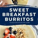 Sweet Breakfast Burritos pin