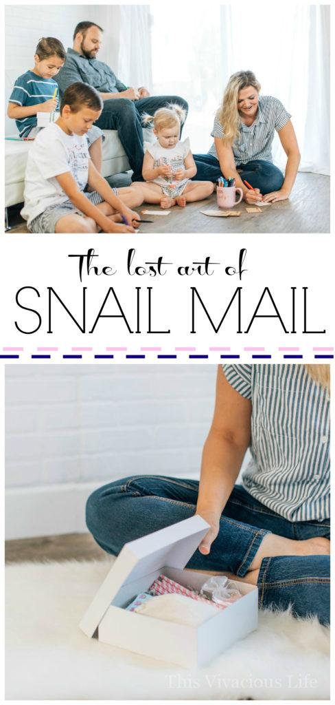 The lost art of snail mail is something that I believe our world needs more of. There is nothing quite like sending or receiving a well thought out letter or package in the mail. | thoughtful ideas | gift ideas for others | sending gifts to others | snail mail ideas || This Vivacious Life #snailmail #giftideas
