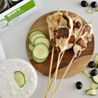 Marinated Chicken Skewers with Cucumber Yogurt Sauce