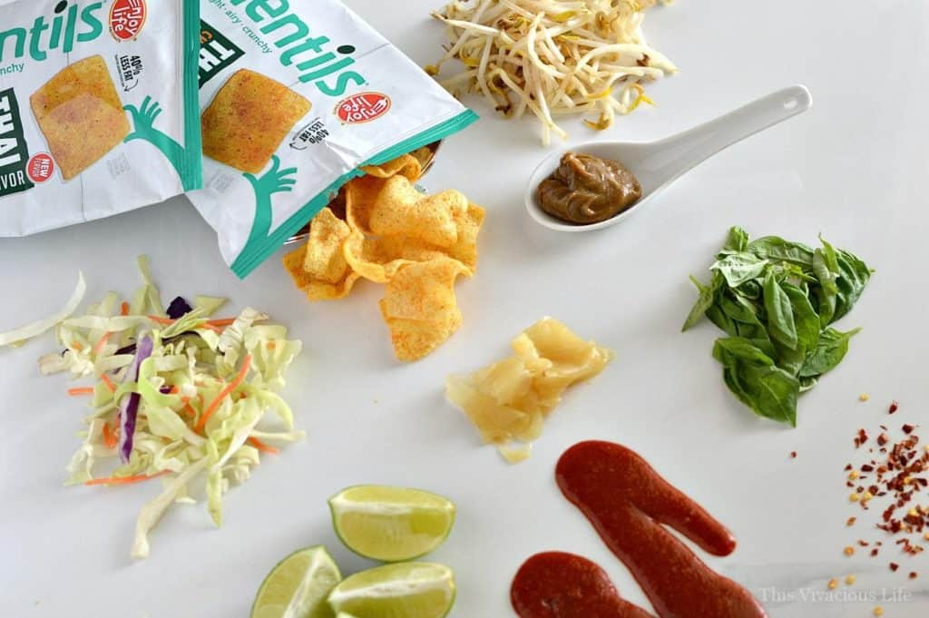 These walking thai tacos are a fun take on traditional walking tacos. They explode with ethnic flavors like sriracha, basil and lime. They are great for feeding a crowd and top 8 allergen-free too!