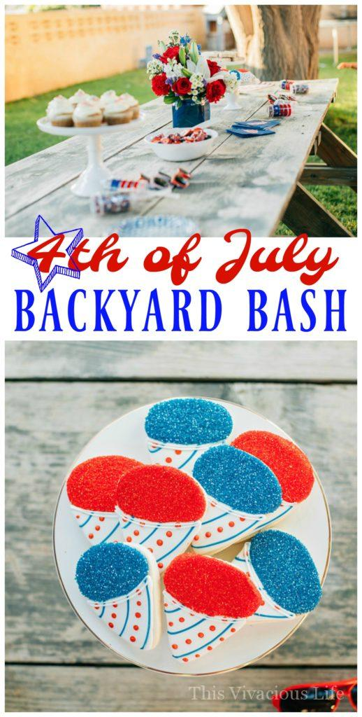 This 4th of July backyard bash and fruit salad are sure to put your party guests in the patriotic spirit! We have everything you want in red, white and blue including snow cone sugar cookies, pop rock cupcakes and even yard yahtzee! || This Vivacious Life #july4th #4thofjuly #partyideas #summerparties #thisvivaciouslife