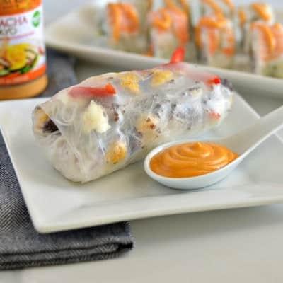 Red, White & Blue Crab Spring Rolls w/ Sriracha Mayo