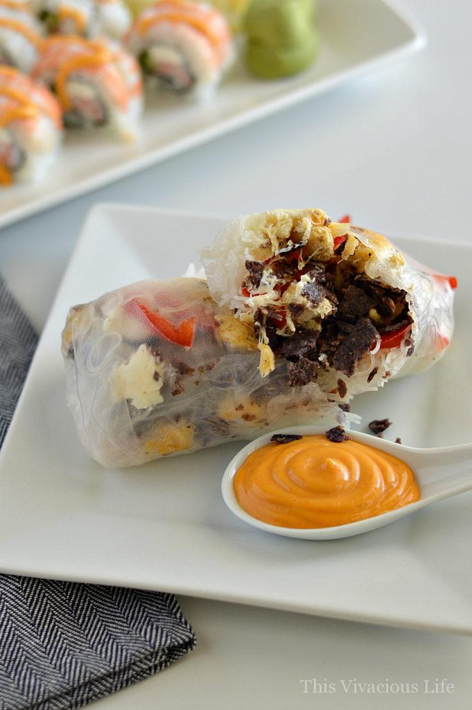 These red, white and blue spring rolls with sriracha mayo are perfect to change up your 4th of July food. They are easy to make and so delicious. || This Vivacious Life #recipe #glutenfree #springrolls #4thofjuly #summerrecipe #asianrecipes