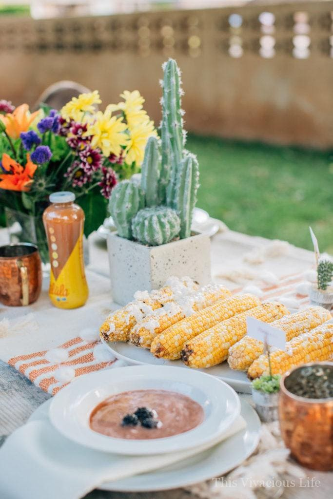 Desert Succulent Dinner Party and Blackberry Gazpacho   how to host an outdoor dinner party   hosting a dinner party tips   tips for hosting a dinner party   using succulents in a tablescape   outdoor dinner party ideas   summer dinner party ideas   hosting an outdoor party   blackberry gazpacho recipe   how to make blackberry gazpacho   homemade blackberry gazpacho    This Vivacious Life