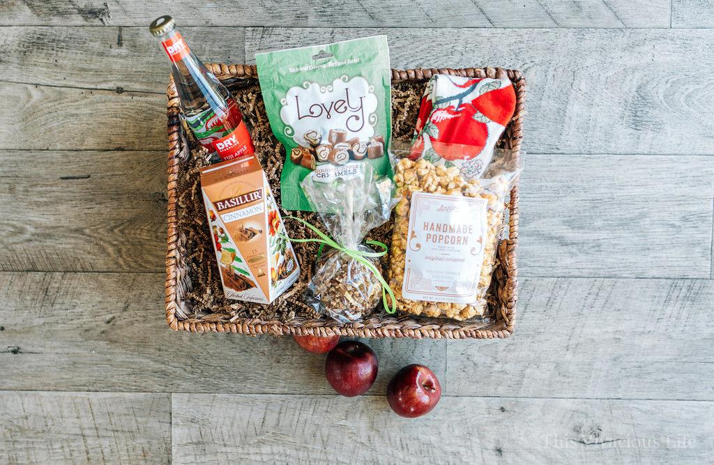 apple themed teacher gift basket