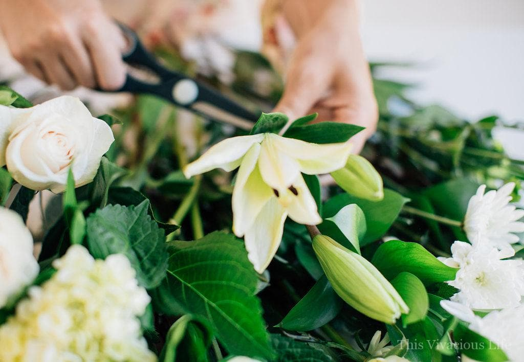 Flowers being cut