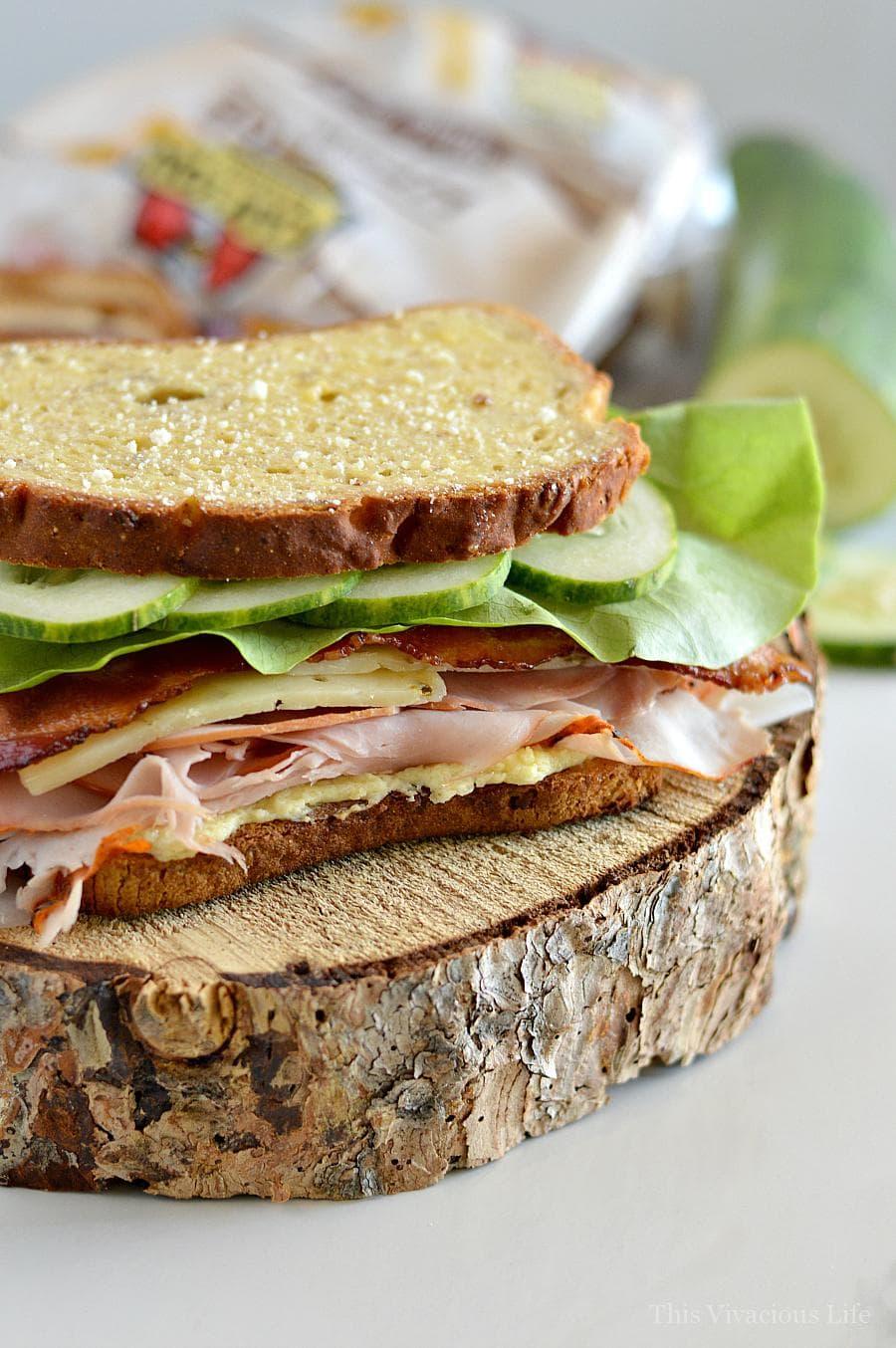 Ham and turkey sandwich on gluten-free bread
