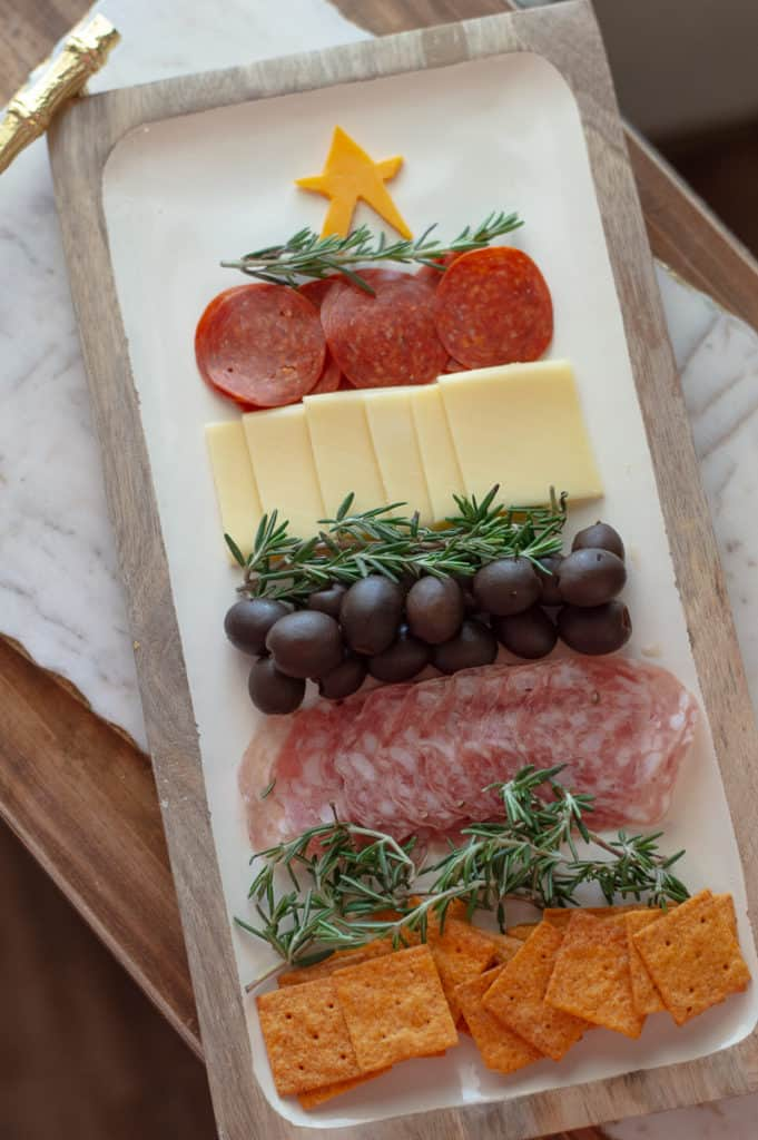 Christmas tree charcuterie cheese board