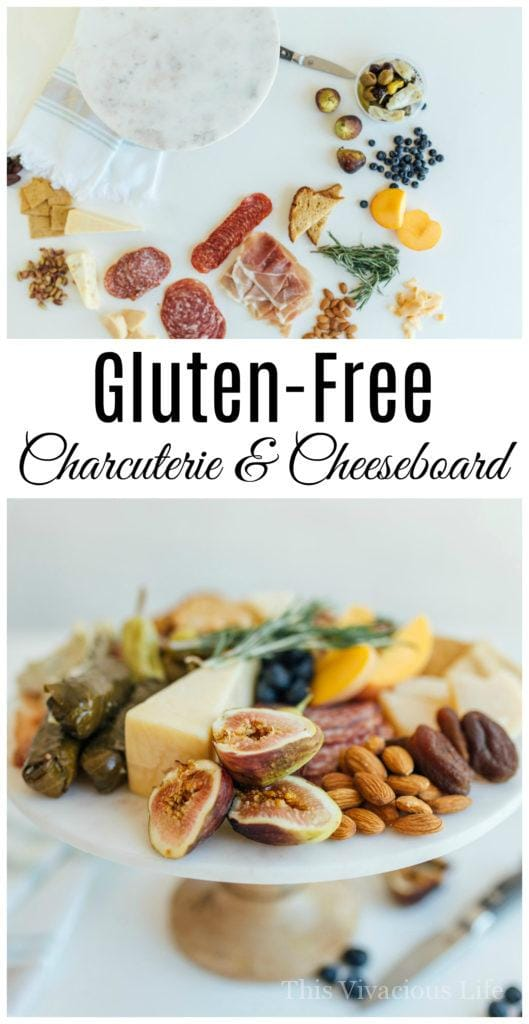 There's not much to a gorgeous gluten-free charcuterie and cheeseboard, but here are our best tips that will help you do it like a pro. | Gluten-Free Charcuterie and Cheeseboard Perfect for Entertaining | gluten free entertaining tips | how to entertain gluten free | gluten free appetizer ideas | gluten free charcuterie tips | how to create gluten free charcuterie | gluten free cheeseboard | gluten free snack recipes || This Vivacious Life
