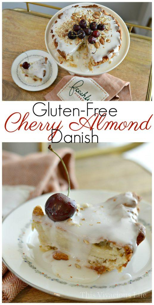 This gluten-free cherry almond danish is a fantastic start to the day. It's an extra special treat any morning or even as an afternoon snack. | gluten free danish recipes | gluten free sweet breakfast recipes | gluten free breakfast recipes | easy gluten free recipes | homemade gluten free recipes | how to make a gluten free danish | recipes using cherries | cherry flavored danish recipes || This Vivacious Life