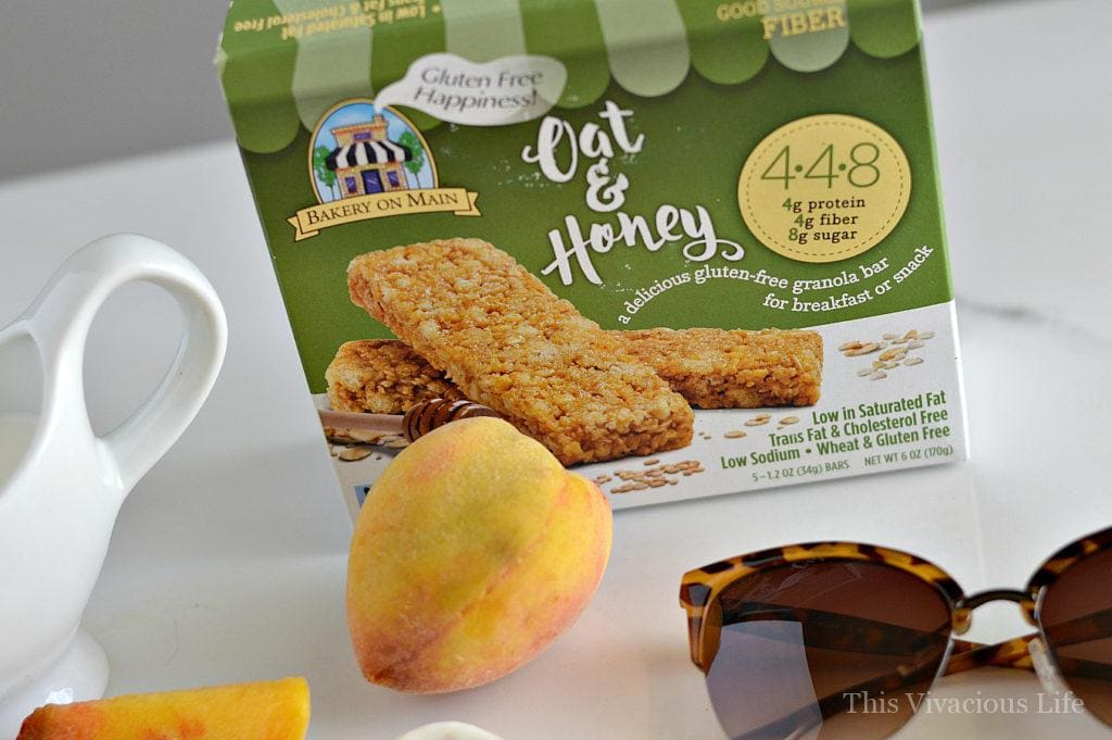 These gluten-free peach granola yogurt pops are a great summer treat that is both delicious and nutritious. | gluten free summer recipes | gluten free popsicle recipes | homemade popsicle recipes | recipes using fresh peaches | peach popsicle recipes | yogurt pop recipes | cool summer treats | recipes for summer | kid friendly recipes | healthy treat recipes || This Vivacious Life
