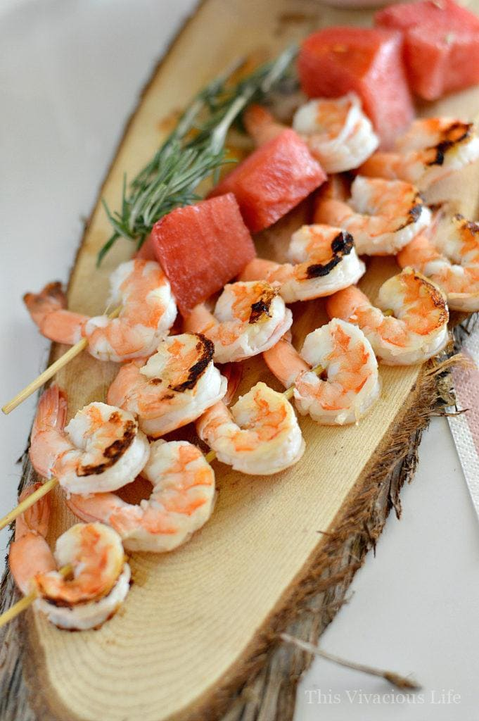 Grilled Shrimp, Watermelon and Rosemary Skewers