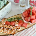 These grilled shrimp, watermelon and rosemary skewers are fantastic for your next summer get together or bbq.