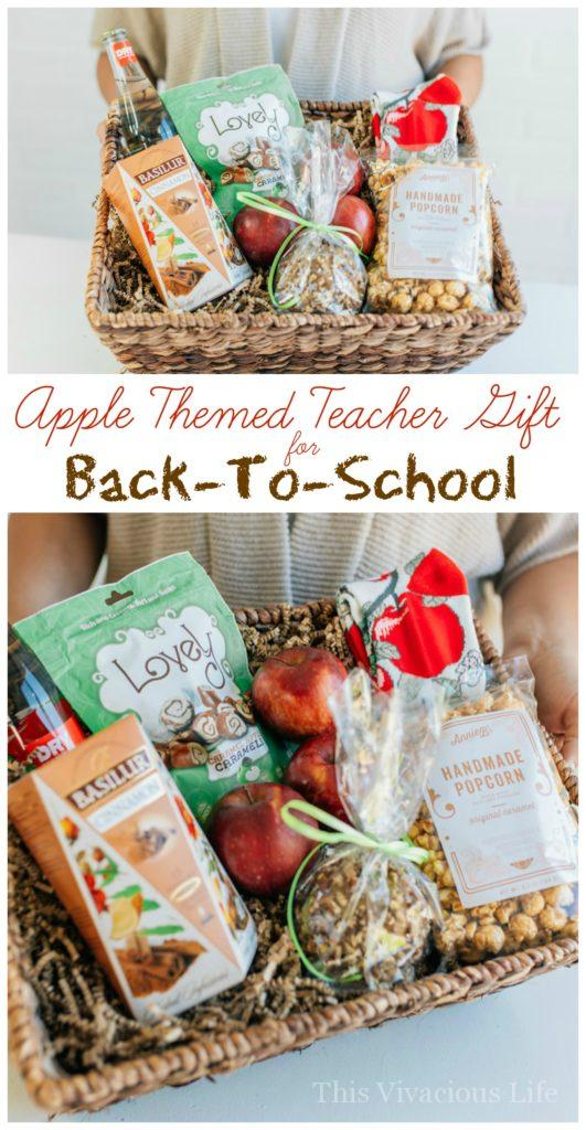 This apple themed teacher gift for back-to-school is easy to put together and something any teacher would appreciate. | back to school teacher gifts | apple themed gift ideas | teacher appreciation gift ideas | gift ideas for teachers | teacher gift ideas | back to school gifts for teachers | unique gift ideas || This Vivacious Life #backtoschool #teachergifts #teacherappreciation #applethemedgifts #back2school #thisvivaciouslife