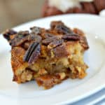 This gluten-free pecan pie bread pudding gives you all the warm fall flavors of pecan pie in a delicious breakfast.