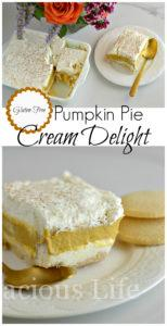 This gluten-free pumpkin pie cream delight is a delicious and festive dessert. It is bursting with fun fall flavors and one that is perfect for Halloween or Thanksgiving.
