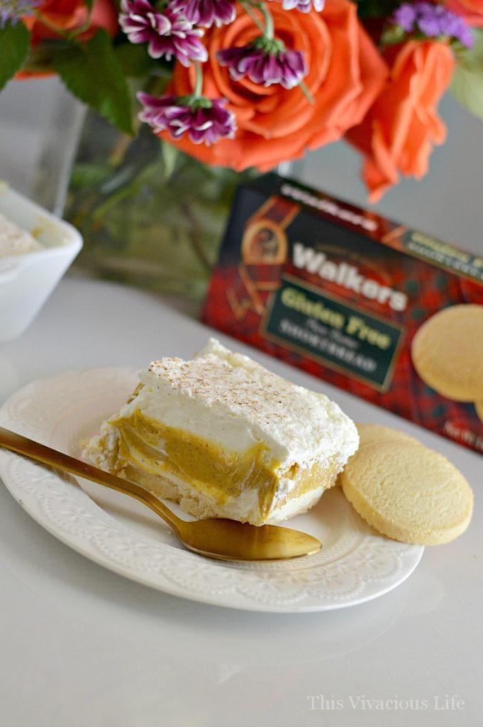 Gluten-free pumpkin pie cream delight on a white plate