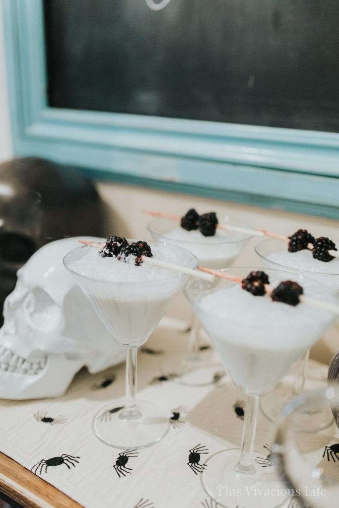This witches night out Halloween party is full of delicious treats, mocktails and lots of gal pal fun! | halloween mocktail recipes | halloween inspired drink recipes | halloween beverages | drinks for halloween | mocktail recipe ideas | gluten-free drink recipes | gluten-free halloween || This Vivacious Life #mocktails