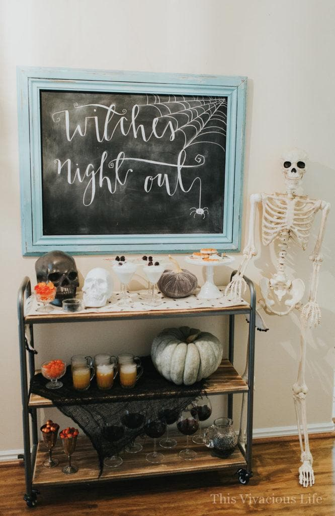 Chalkboard Halloween sign and bar cart