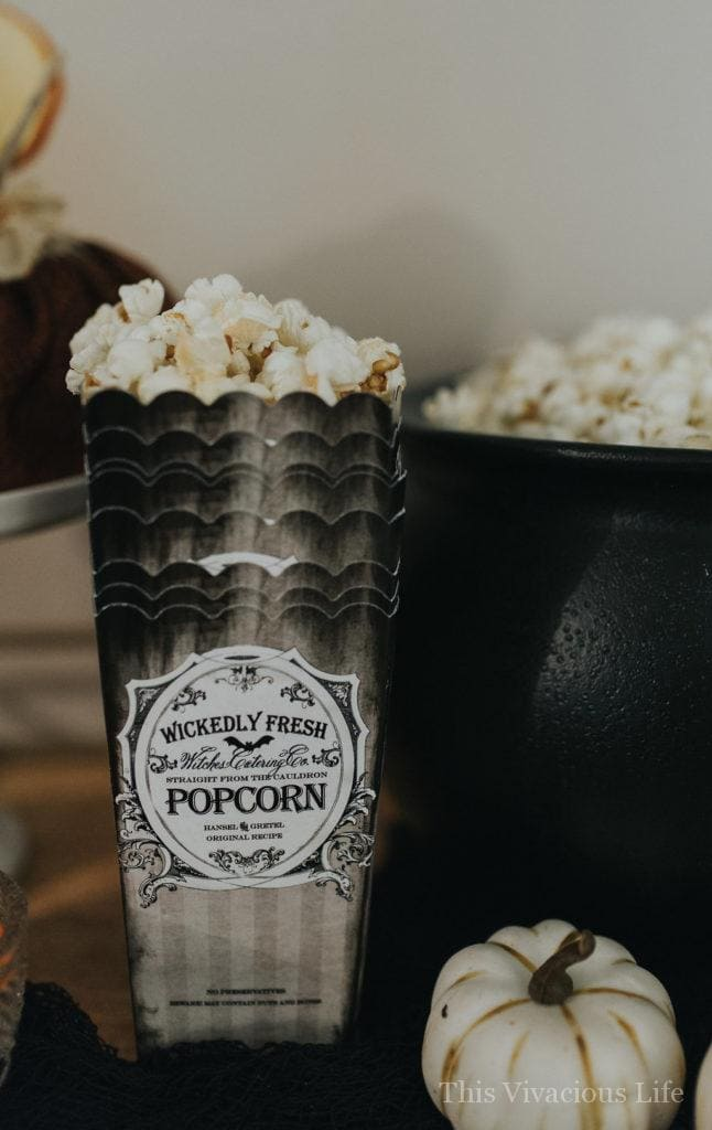Popcorn in Halloween containers