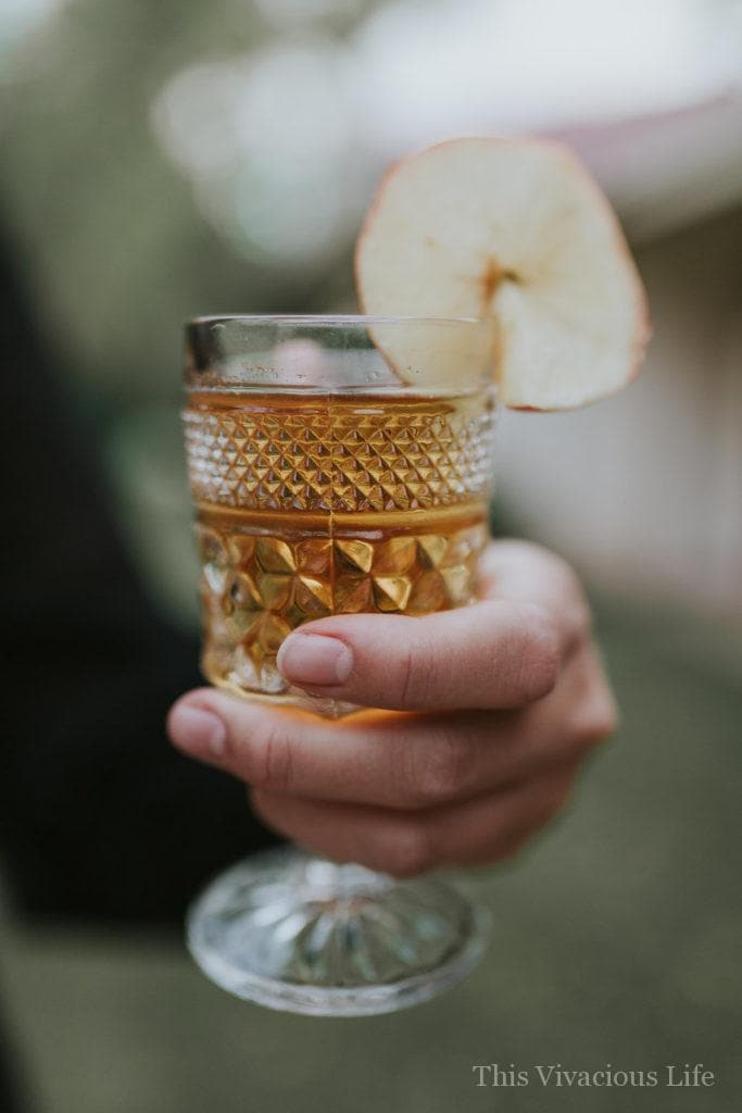 Crockpot apple cider in a glass goblet with apple slice